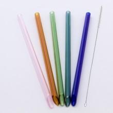 10 transparente oder bunte gerade Glastrinkhalme 21 cm, angeschrägt inkl. Reinigungsbürste