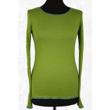 Langarmshirt grün fein gestreift mit Kontrastsaum