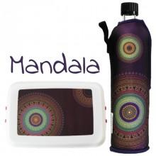 Mandala: Biokunststoff Lunchbox & Edelstahl Trinkflasche im Set