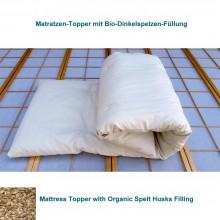 6 cm Matratzenauflagen mit Bio-Dinkelspelzen, verschiedene Längen & Breiten