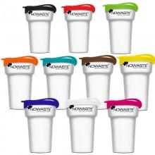 Nowaste Treecup 300 ml – Trinkbecher to go weiß mit farbigem Deckel