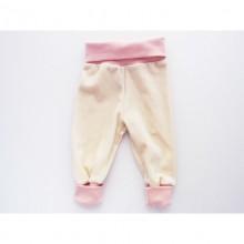 Baby Nabelbundhose | Baby Mitwachshose Nickistoff Natur-Rosa