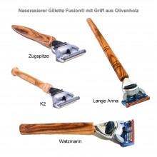 Nassrasierer Gillette Fusion® mit Griff aus Olivenholz, verschiedene Designs