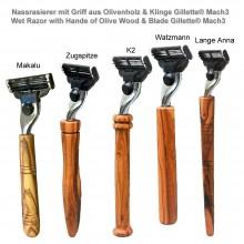 Nassrasierer Gillette® Mach3 mit Griff aus Olivenholz, verschiedene Designs