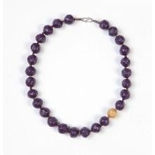 Halskette Violett mit Gold-Perle – Öko-Papier