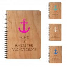 ANCHOR Notizbuch mit echtem Kirschholzfurnier-Einband