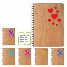 Notizbuch HERZEN mit echtem Kirschholzfurnier-Einband, verschiedene Formate & Farben