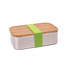 Premium Edelstahl Brotdose XL Junglepicknick mit Bambus-Deckel/Schneidebrett und farbigem Band