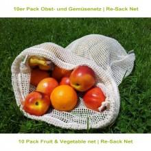 10er Pack Obst- und Gemüsenetz aus Bio-Baumwolle – Re-Sack Net