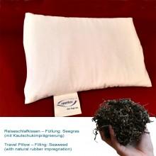 Reise-Schlafkissen mit Seegras & Naturkautschuk in Bio-Baumwoll-Hülle