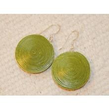 Scheiben-Ohrringe aus Öko-Papier - Grün