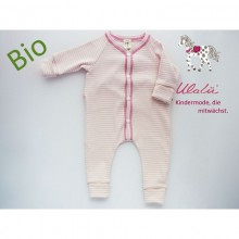 Bio Baby Schlafoverall – Strampler Rosa gestreift