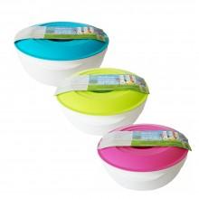 Schüssel aus Biokunststoff mit farbigem Deckel 2 Liter