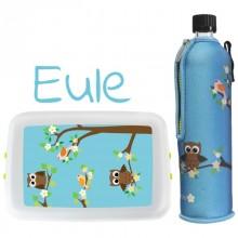 Öko Schulstarter-Set »Eule« Trinkflasche mit Neoprenschutzhülle & Lunchbox
