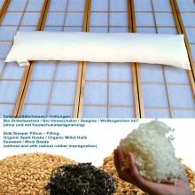 speltex Bio Seitenschläferkissen 150x35 cm, wahlweise Dinkel, Hirse, Seegras oder Wollkügelchen