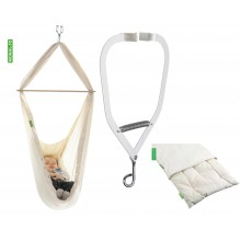 Set: Baby-Pendulo mit Matratze (Bio-Baumwolle und Schurwolle) und Türklammer