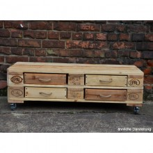 Sideboard / Rollboard aus Europaletten – 4 Schubladen