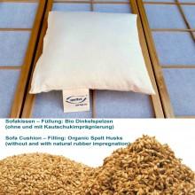 Bio Sofakissen mit Bio-Dinkelspelzen ohne Kautschuk in Bio-Baumwoll-Hülle
