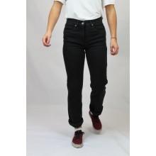 Klassische Straight-fit Bio Jeans, Schwarz, Cuffed Style