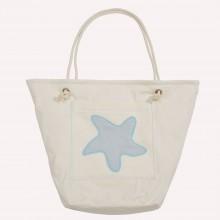 Strandtasche mit Seestern, Natur/Hellgrau, Bio-Baumwolle