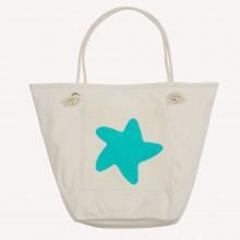 Strandtasche mit Seestern, Natur/Seegrün, Bio-Baumwolle