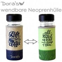 Dora's Kaffee und Tee to go Glasbecher mit Wende-Neoprenhülle