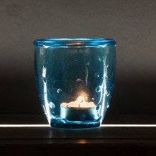 Teelichtglas 'Feeling' aus Recyclingglas, Blau