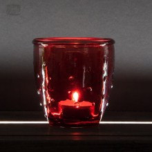 Teelichtglas 'Feeling' aus Recyclingglas, Rot