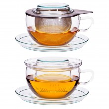 Teetasse TEA TIME Jumbo Tasse mit 0.4l – Edelstahlfilter oder Glasfilter & Unterteller