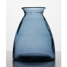Tischvase 20cm hoch aus 100% Altglas – Blau/Grau