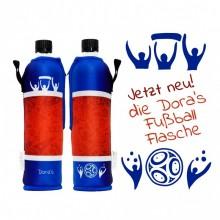 Fußballflasche – Dora's Glasflasche mit Neoprenbezug