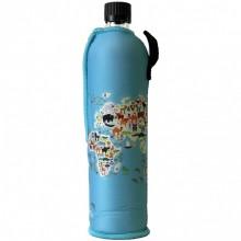 Dora Sonderedition Weltkarte – Glasflasche Dora mit Neoprenanzug