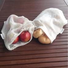 Unverpackt Set: Einkaufsbeutel und Einkaufsnetz aus Bio-Baumwolle, vegan zertifiziert