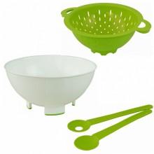 Greenline Salat-Set: Schüssel, Sieb & Salatbesteck aus Biokunststoff