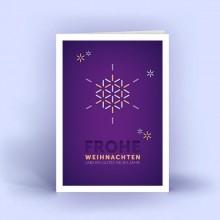 Weihnachtskarten Schneeflocke A6 hoch, 5er Set Lila