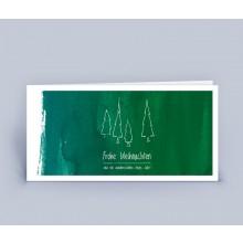 Weihnachtskarte Wald auf Tafel, DIN lang, 5er Set