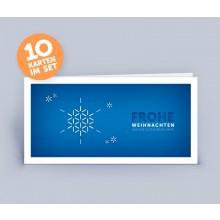 Weihnachtskarte blau mit Schneeflocke im 10er Set