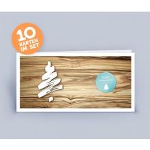 Weihnachtskarte Holzoptik mit Weihnachtsbaum im 10er Set