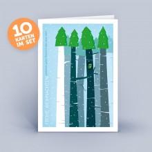 Weihnachtskarte blau – Wald mit Eule im 10er Set
