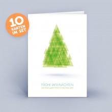 Weihnachtskarte grün mit abstraktem Weihnachtsbaum im 10er Set