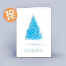 Weihnachtskarte blau mit abstraktem Weihnachtsbaum aus Dreiecken im 10er Set