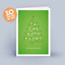 Weihnachtskarte grün – Christbaum geschwungen im 10er Set