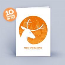 Weihnachtskarte orange mit Hirsch im 10er Set
