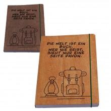 Reisetagebuch mit Holzfurnier-Buchumschlag, Kirsche oder Nussbaum