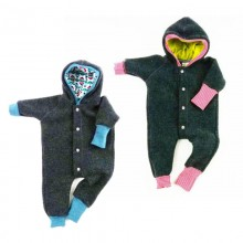 Bio Baby Wollfleece Overall Grau/Türkis und Grau/Rot