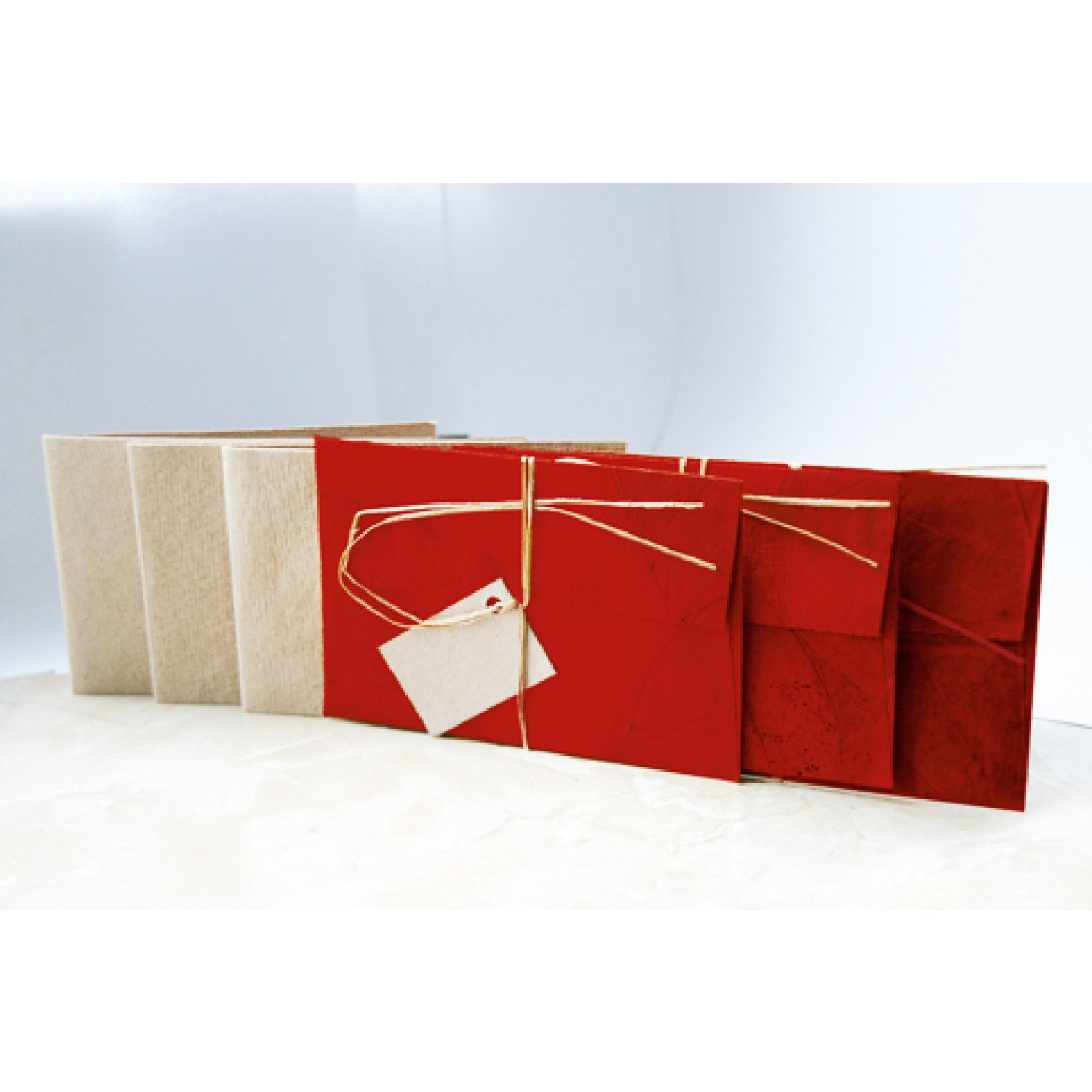 Fair Trade Paper Gift Tag & Greeting cards 3-part - Red