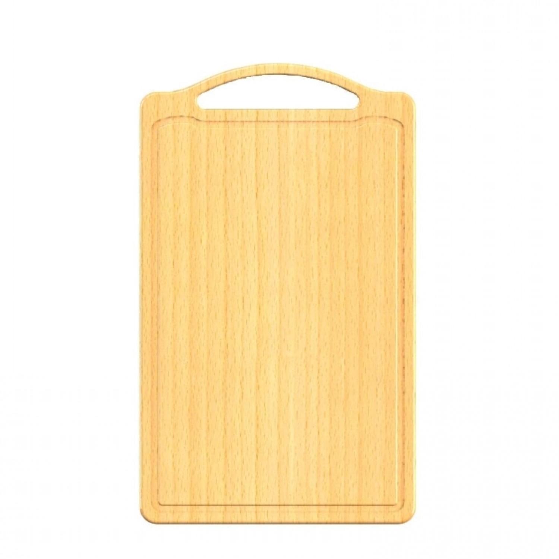 Large beech wood cutting board with juice rim & handle | Biodora