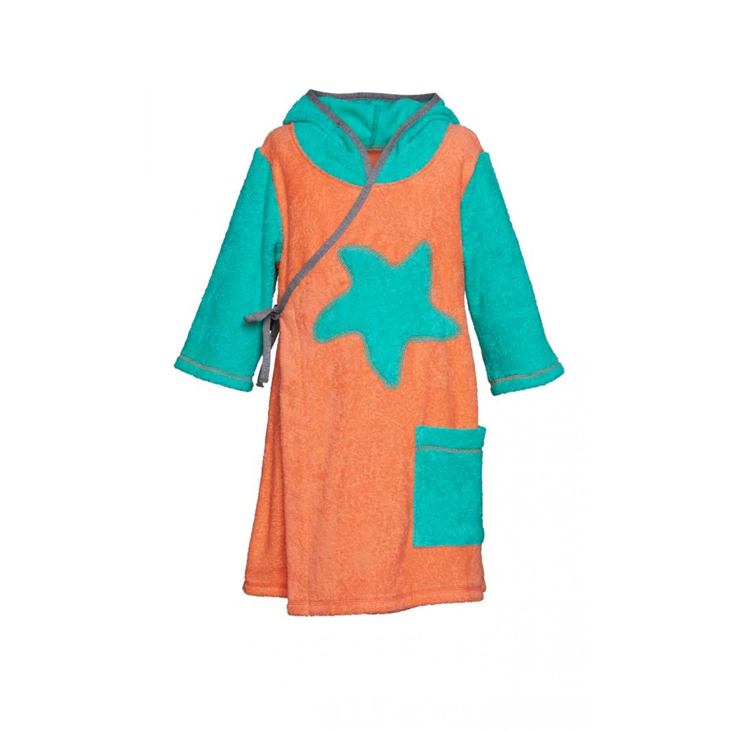 Girls' Bathrobe Coral/Green with Starfish, Organic Cotton