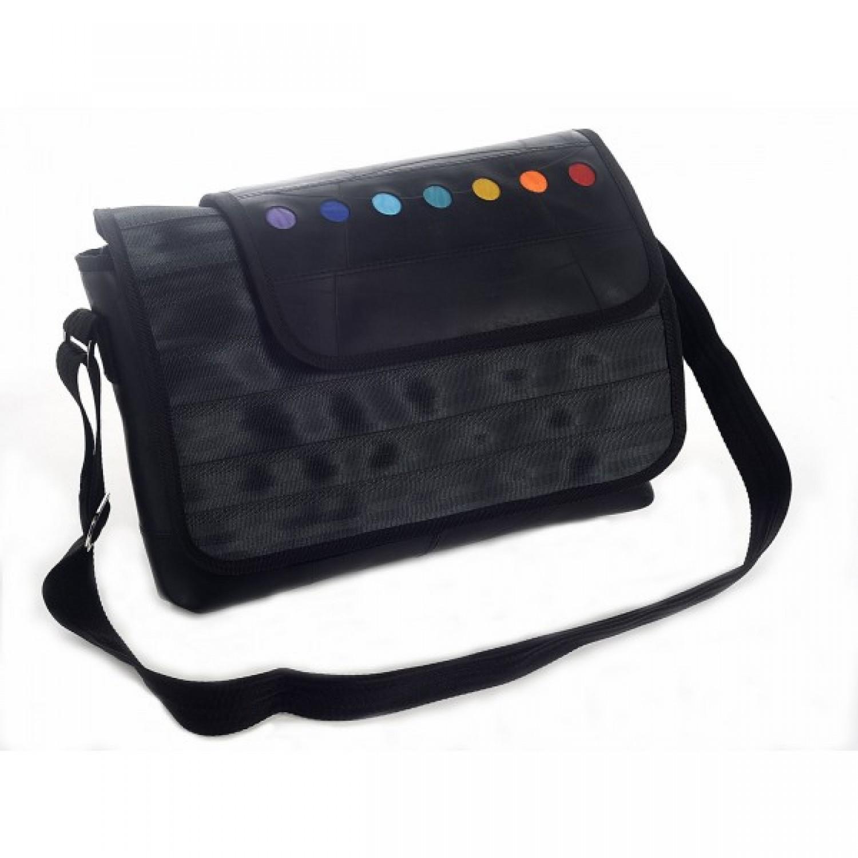 Nelson Upcycled Messenger Bag Joyful Peace | Marron Rouge