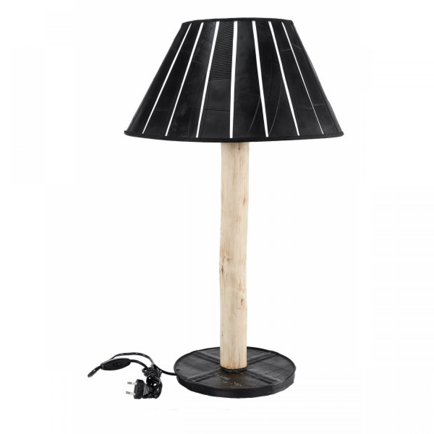 pedestal table lamp of upcycled materials